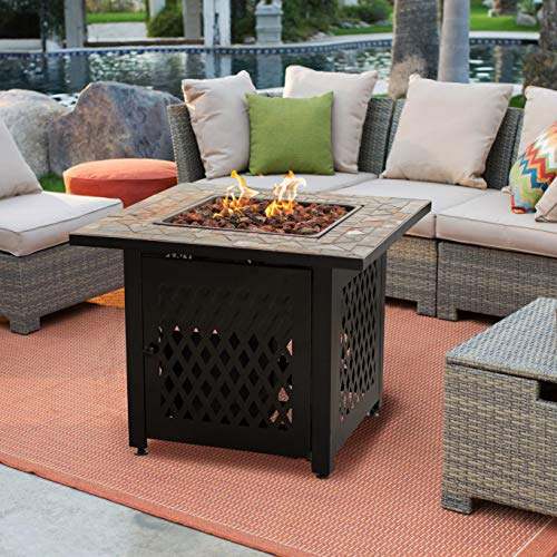 - Fire Pit Set. 4 Seating, Outdoor Furniture Kit of Steel, Resin Wicker, Tile for Porch, Lawn, Pool, Garden, Conversation. Outside, Square Fireplace & Coffee Tables, Sectional Sofa, Ottoman, Cushions