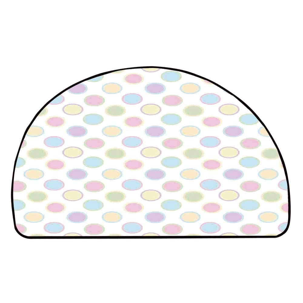 C COABALLA Polka Dots Comfortable Semicircle Mat,an Image of Round Polka Dots Cheerful Childish Trendy Vintage Bohemian Spots Print for Living Room,11.8'' H x 23.6'' L