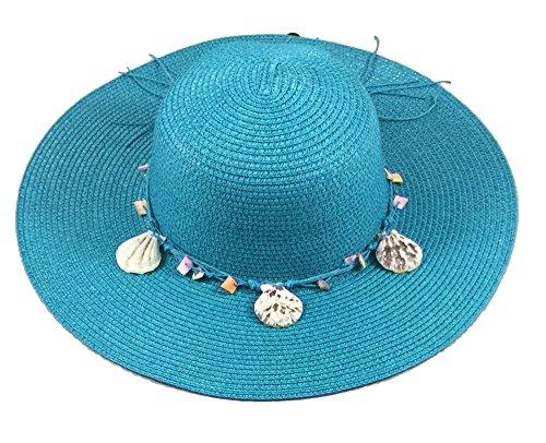 Wide Brim Large Floppy Summer Straw Sun Hat Headwear with Shells by Shoe Shack (Image #2)