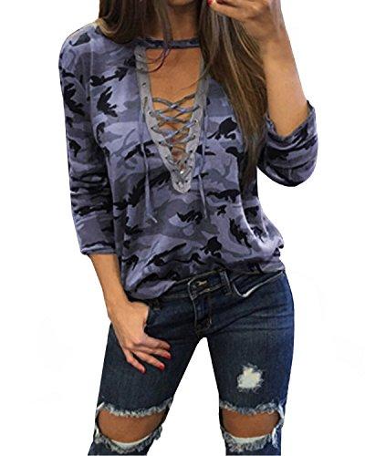 StyleDome Donna Maglia Camouflage Manica Lunga Maglietta Ragazza Collo V Nuovo Casual T-Shirt Grigio