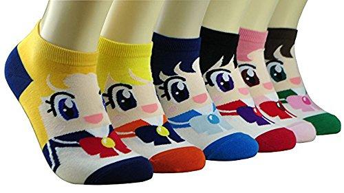 SOKS Women's Japan Animation Cartoon Cute Animal Socks Sets One Size Fits All (Sailor Moon 6 sets) from SOKS