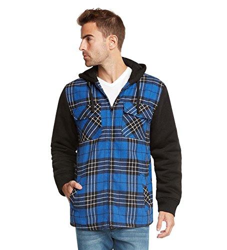9 Crowns Essentials Sherpa Lined Plaid Flannel Hoodie Jacket-Blue/Black-XL