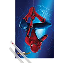 Poster + Hanger: Spiderman Poster (36x24 inches) Homecoming, Hanging Arround And 1 Set Of Transparent 1art1® Poster Hangers