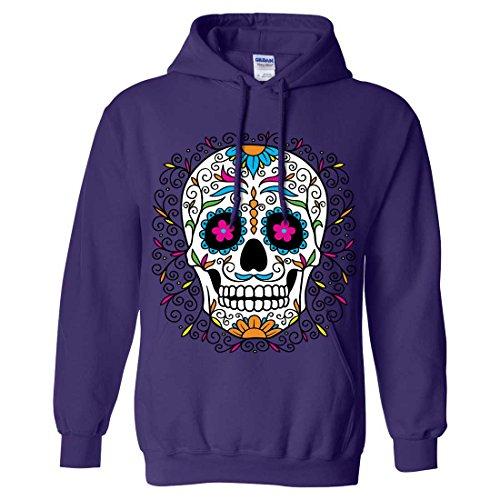 Dia De Los Muertos Pastel Sugar Skull Sweatshirt Hoodie - Purple X-Large (Party City Dia De Los Muertos)