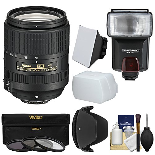 Nikon 18-300mm f/3.5-6.3G VR DX ED AF-S Nikkor-Zoom Lens with 3 Filters + Hood + Flash & 2 Diffusers + Kit