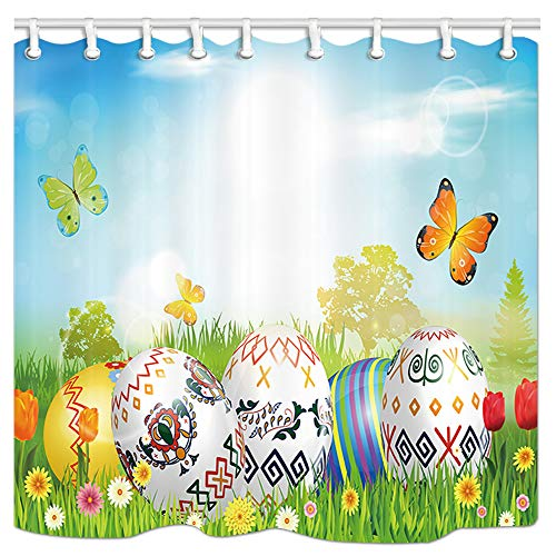 JAWO Easter Shower Curtain, Easter Eggs and Butterflies in The Grass Bath Curtain, Polyester Fabric Bathroom Shower Curtain with Hooks 69x70Inches, Bathroom Accessories