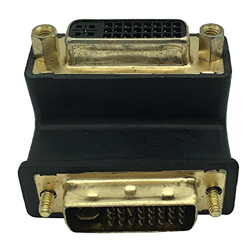 Dong DVI 24+5 Male to Female 90 Degree Right Angled Adapter Monitor Connector, DVI-I DVI 24+5Pin Digital Dual Link Female to DVI24+5 Male 90 Angle Extension Adapter by DONG