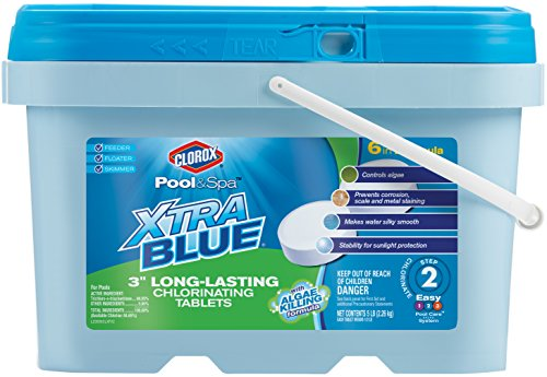 CLOROX Pool&Spa XtraBlue 3-Inch Long Lasting Chlorinating Tablets, 5-Pound Chlorine ()