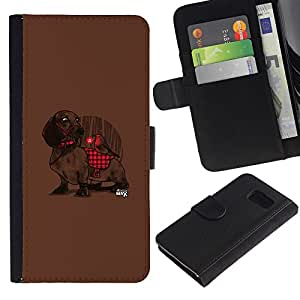 Billetera de Cuero Caso Titular de la tarjeta Carcasa Funda para Samsung Galaxy S6 SM-G920 / Dachshund Plaid Red Pattern Cute Dog / STRONG