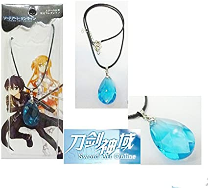 Anime Sword Art Online SAO Kirito Yuki Asuna Crystal Necklace Cosplay Pendant