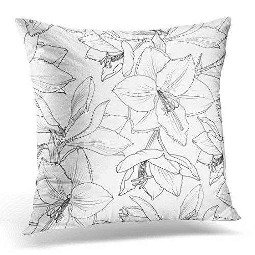 Breezat Throw Pillow Cover Amaryllis Hippeastrum Lilly Floral Spring Summer Flowers Detailed Black and White Drawing Outline Sketch Decorative Pillow Case Home Decor Square 16x16 Inches (Amaryllis Garland)