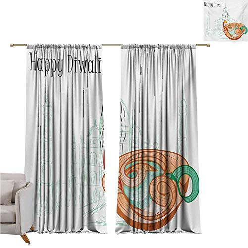 cashewii Diwali Fresh Curtains Abstract Palace Taj Mahal Like Sketch with Modern Festive Fire Candles Asian Print Set of Two Panels W84 x L96 Multicolor
