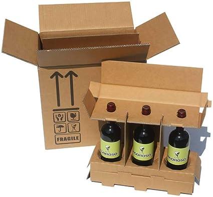 Cajas homologadas para enviar botellas de vino y aceite - Paquete de 5 cajas de 3 botellas: Amazon.es: Oficina y papelería