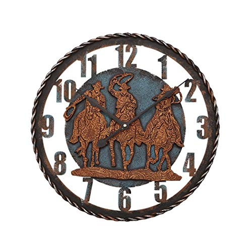 HONGLIAN Western Cowboy Clock Wall Hanging Home Decoration Living Room Bedroom Bar Background Wall Decoration Wrought Iron Pendant 38cm