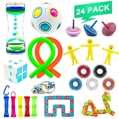 NANAHouseTM 24 Pack Increase Focus Relieves Stress Bundle Sensory Fidget Toys-Fidget Chain/Ring,Infinity Cube,Liquid Motion Timer,Wacky Tracks Snap ADD ADHD Toy for Kid and Adult