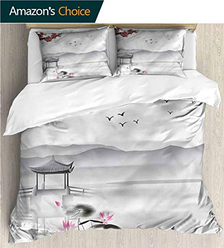 VROSELV-HOME Cotton Bedding Sets,Box Stitched,Soft,Breathable,Hypoallergenic,Fade Resistant Breathable Lightweight Soft 3 Pieces Duvet Cover-Japanese Garden Pavillion (87