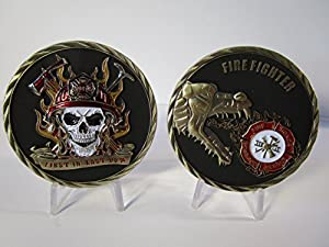 3D Firefighter Fireman First Responder First in Last Out 911 Skull Challenge Coin by OWT/LIFENG