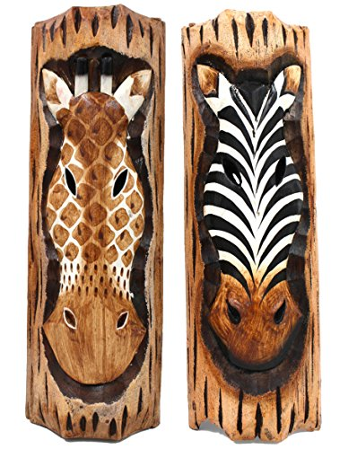 Giraffe & Zebra Wall Decor, Hand Carved Wooden Sculptures (Set of 2)