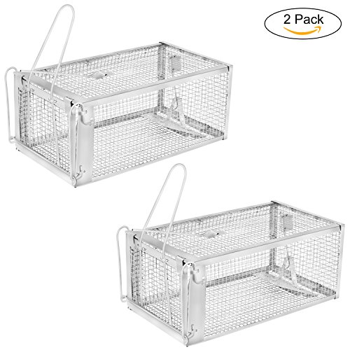 """Animal Trap Door 2 (YISSVIC Live Animal Trap 2 Pack 11"""" X 9.5"""" X 6"""" Catch Release Cage for Mouse Rats Mice Rodents Squirrels and Similar Small Sized Pests)"""