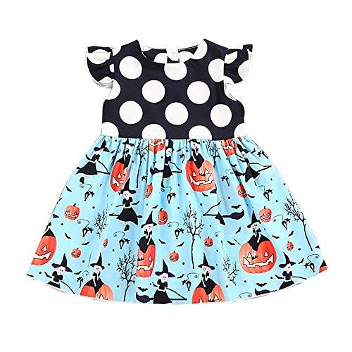 JOFOW Halloween Costume,Toddle Baby Infant Girls Dress, Polka Dot Pumpkin Witch Cartoon Pattern Short Sleeve Ruffle (90,Blue)