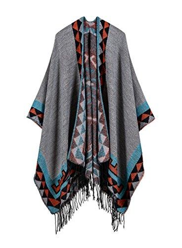 (Women Winter Oversized Blanket Shawl Wrap Poncho Cape Open Front Cardigan Gray)