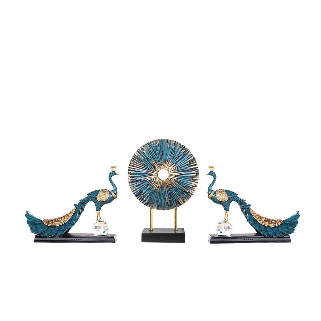 Home Decoration, Hand-Painted Resin Crafts Peacock Ornaments Sculpture Living Room Decorations Nordic Decorative Wine Cabinet Home (Color : 5)