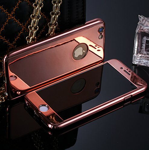 Losin 360 Case Compatible with Apple iPhone 7 Plus / iPhone 8 Plus 5.5 Inch Luxury Electroplate 360 Degree Full Body Protection Mirror + 9H Tempered Glass Screen Hard PC 360 Degree Coverage Case