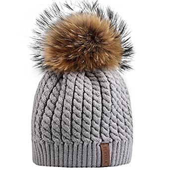 FURTALK Women Lady Girls Crochet Knit Fur Hat With Real Fox Fur Pom Pom Bobble Winter Beanie Hat (Grey)