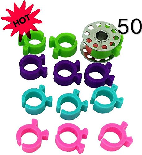 PeavyTailor 50 Pcs Bobbin Cilp Bobbin Holders Clamps Great for Embroidery Quilting and Sewing Thread Sewing Machine.
