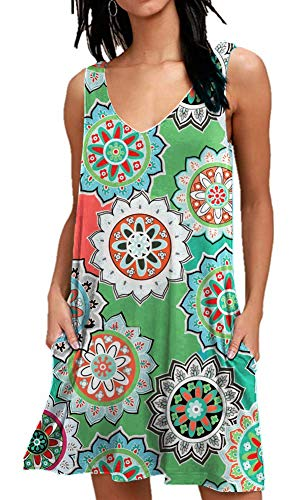 AUSELILY Women Summer Casual T Shirt Dresses Beach Cover up Plain Pleated Tank Dress (2XL, Round Floral Green)