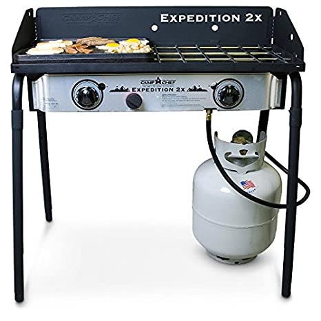 Camp Chef Expedition 2 Hornillo de gas con Bonus parrilla de hierro fundido: Amazon.es: Hogar
