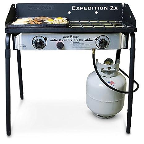 Camp Chef Expedition 2 Hornillo de gas con Bonus parrilla de hierro fundido: Amazon.es: Hogar