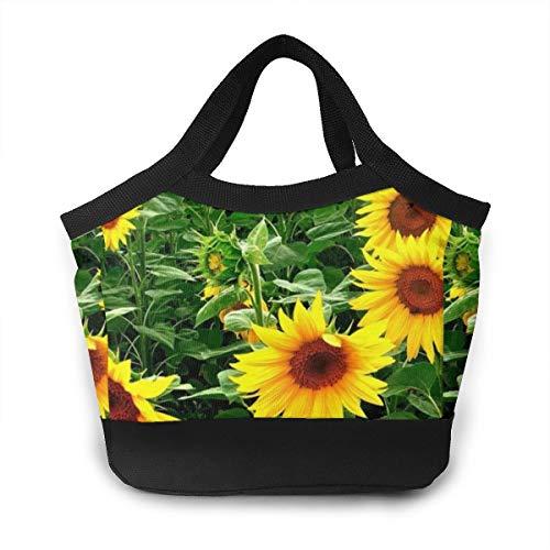 Lunch Bag - Sunflowers Patterned Mom Bag Organizer for Office School Work, Women/Men Kids Lunch Holder Handbag Portable Leakproof Reusable Grocery -
