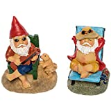 Patio Eden Miniature Garden Gnome Set - 3'' and 3.5'' Tall - Mini Beach Figurines for Fairy Gardens