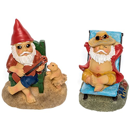 Cheap  Patio Eden Miniature Garden Gnome Set - Mini Beach Figurines for Fairy..