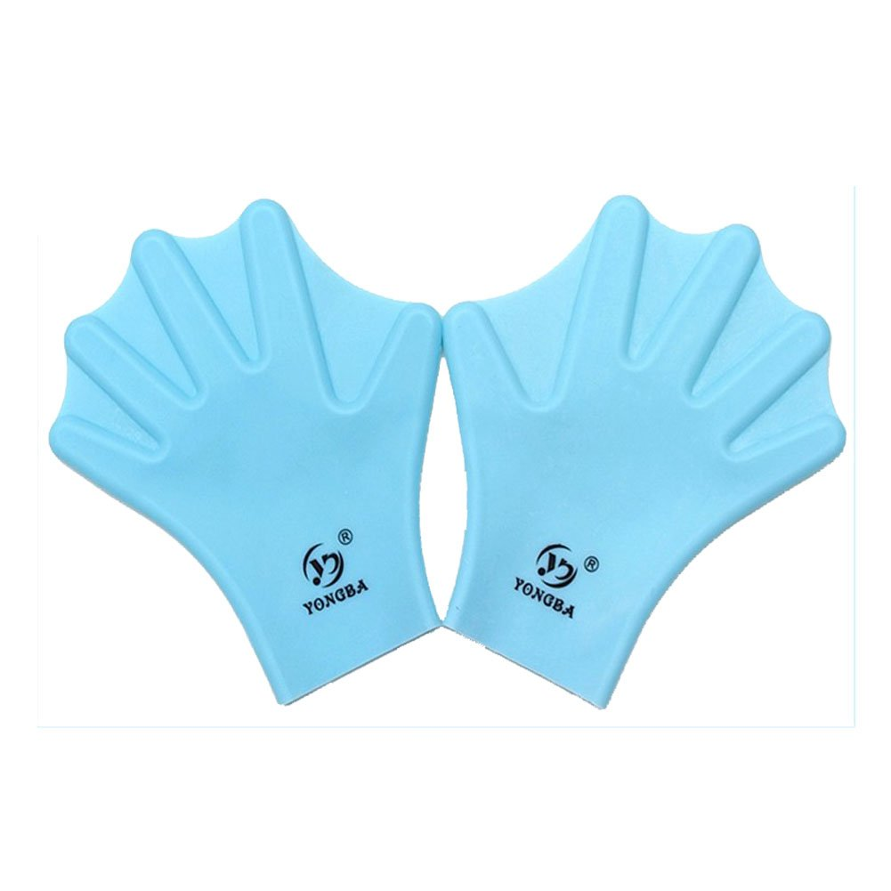 Water Gear Silicone Swim Webbed Gloves for Adults, 2pcs (Blue)