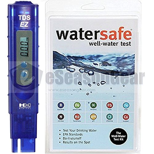 (TDSEZ + WS-425W, HMD TDS ppm Meter + Watersafe Well Drinking Water Test Kit, Bacteria, Lead, Pesticide, Nitrate / Nitrite, pH, Hardness, Chlorine, Copper, Iron)