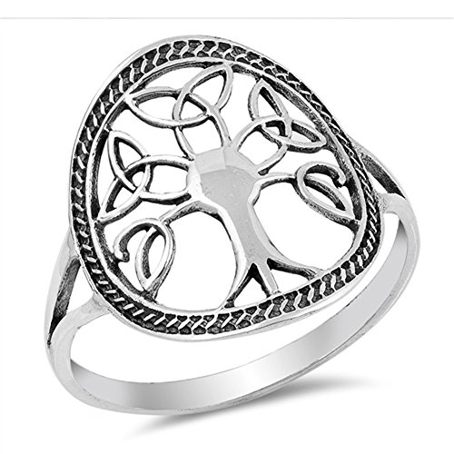 Oxidized Celtic Knot Tree of Life Filigree Ring Sterling Silver Band Size 9 ()