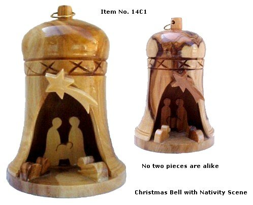 Olive Wood Christmas Bell Ornament with Nativity Scene - Large - Made in Bethlehem