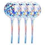 Hoomall 4Pcs Large Size Plant Automatic Watering Large Decorative Glass Watering Globes Bulbs for Home Garden Decor (6X15CM/2.36x5.9 Inches, Laser Color)