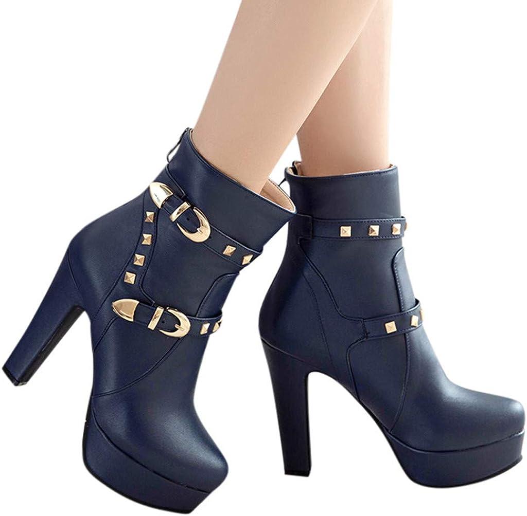 Kiminana Retro Ladies Shoes Scrub Sandals Chunky Heels Round Toe Non-Slip Sweat Resistant Quick Drying Boots