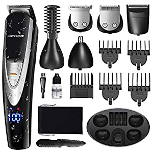 MIGICSHOW Electric Beard Trimmer for Men – Showerproof Hair Trimmer 12 in 1 Grooming Kit for Nose Ear Facial, Mustach, Body Groomer, Hair Clippers with LED Display USB Rechargeable Storage Dock & Bag