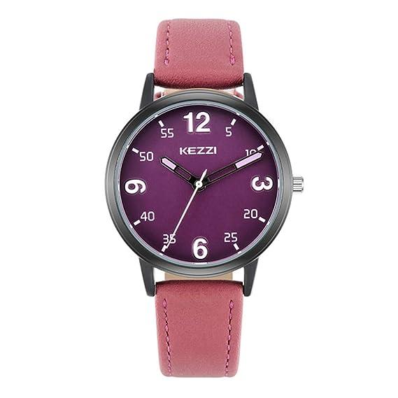 Relojes Mujer con Dial Coloreado, Grande Escala de Números Arábigos Correa de Cuero Relojes de Pulsera de Moda para Chica, Morado: Amazon.es: Relojes