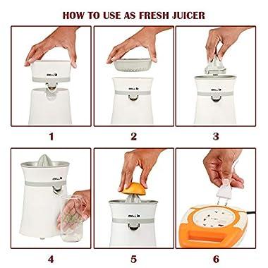 iBELL JU400SG Electric Citrus Fruit Juicer, 20 Watt Juice Maker, Orange Juicer with High Grade Copper Motor, 2 Small Type Squeezers (White) 13