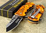 Cheap TAC-FORCE ORANGE CAMO Rescue Tactical Spring Assisted Open Pocket Folding Knife