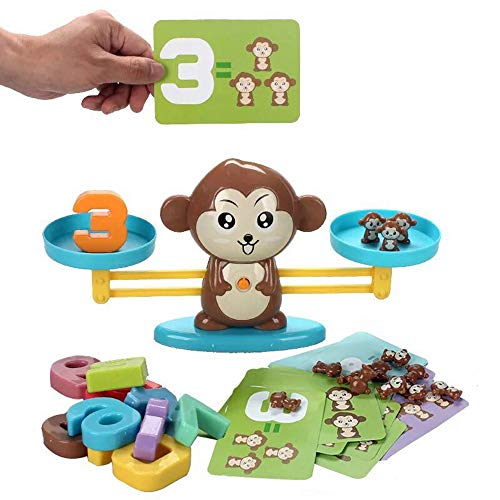 BIMOUR Board Game Monkey Match Math Balancing Scale Number Balance Children Educational Toy to Enlightenment Digital Addition and Subtraction