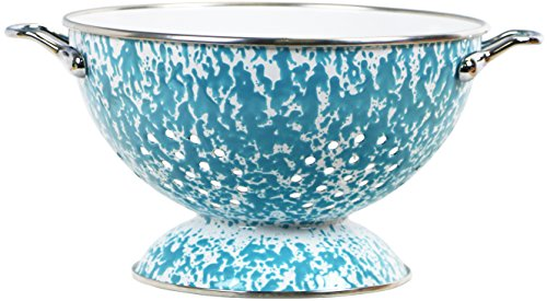 Powder Coated Colander - Calypso Basics by Reston Lloyd Powder Coated Enameled Colander, 3 quart, Turquoise Marble