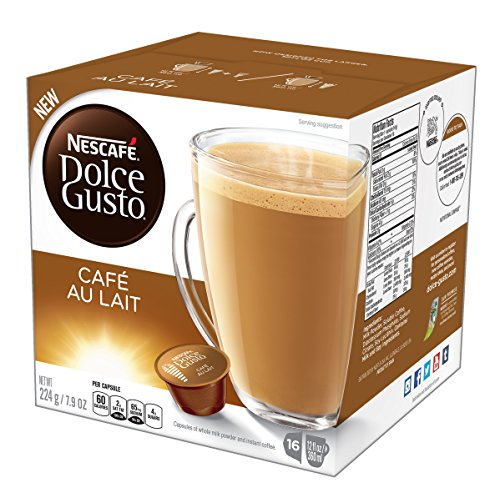 (NESCAFÉ Dolce Gusto Coffee Capsules  Café Au Lait  48 Single Serve Pods, (Makes 48 Cups)      48 Count)