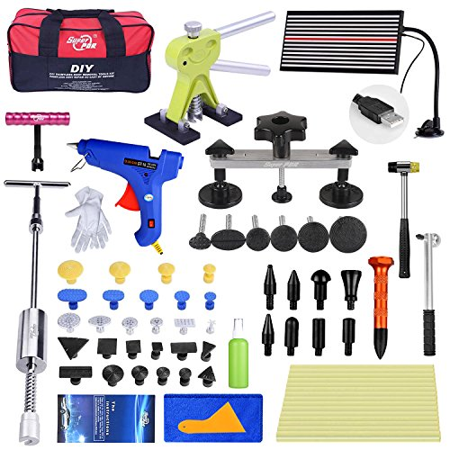 Super PDR 58Pcs NEW Paintless Dent Repair Tools Silver Bridge Puller Green Dent Lifter Auto Body Repair Kits With Hot Melt Glue Gun For Car Hail Damage And Door Dings Repair by Super PDR (Image #8)