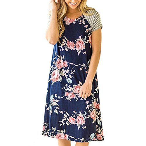 b8424c197d56a9 JSPOYOU Womens Dress ! Womens Short-Sleeved Print Dress Women Floral Print  Short Sleeve A